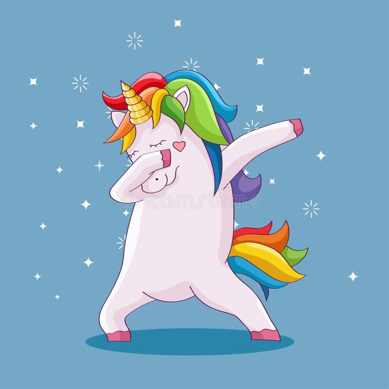 Cute beautiful unicorn doing dabbing vector illustration