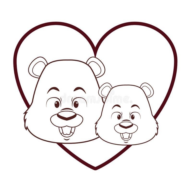 Cute beavers cartoon royalty free illustration