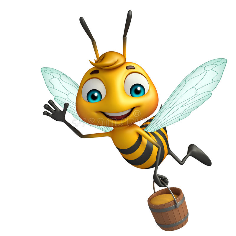 Cute Bee Cartoon Character With Honey Pot Stock