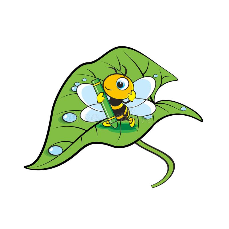 Bee with pastel on big leave stock illustration