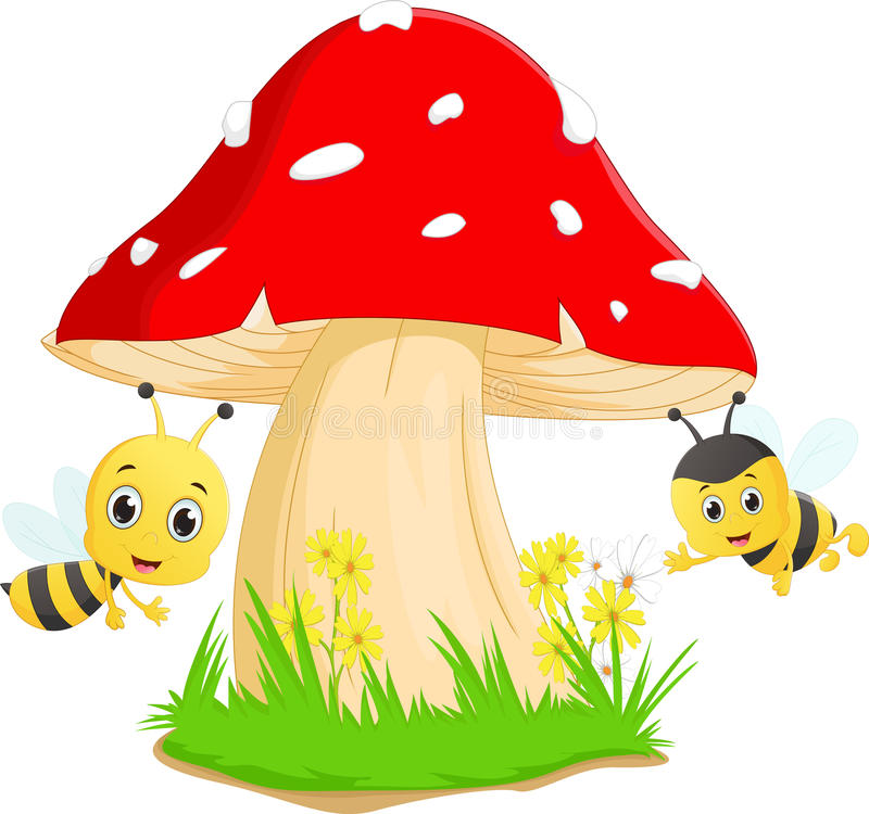 Cute bee cartoon with red mushroom royalty free illustration
