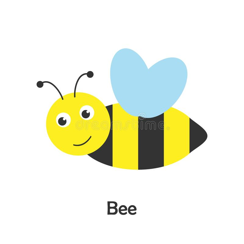 Cute bee in cartoon style, insect card for kid, preschool activity for children, vector illustration stock illustration