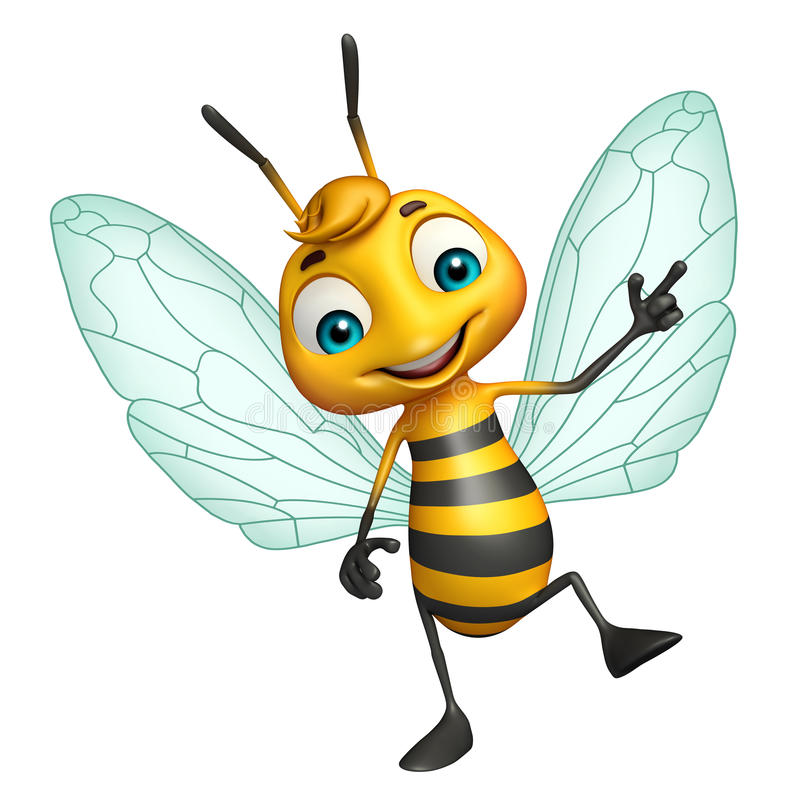 Cute Bee funny cartoon character. 3d rendered illustration of Bee funny cartoon character vector illustration
