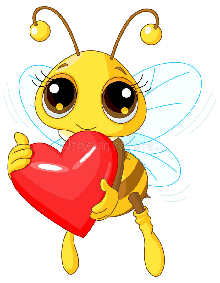 Cute Bee holding Love heart stock illustration