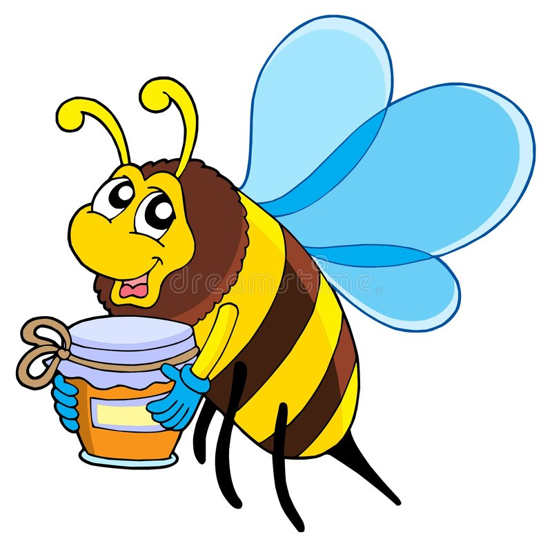 Download Cute bee with honey stock vector. Image of drawing, isolated - 5991330