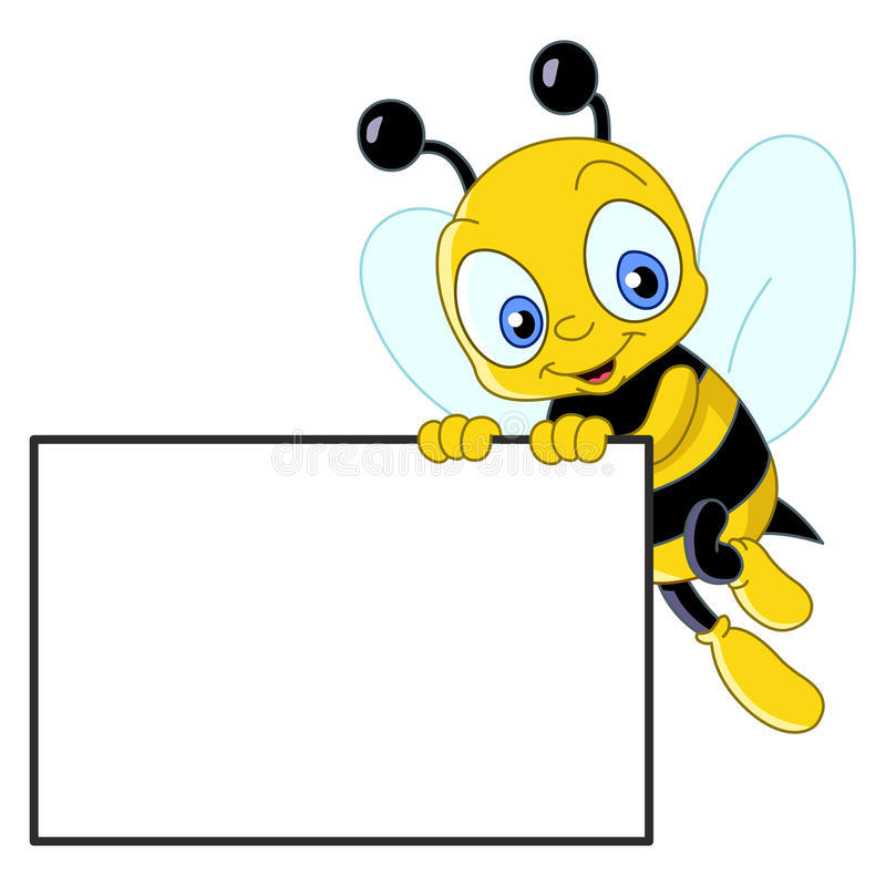 Cute bee with sign. Cute bee holding a blank sign