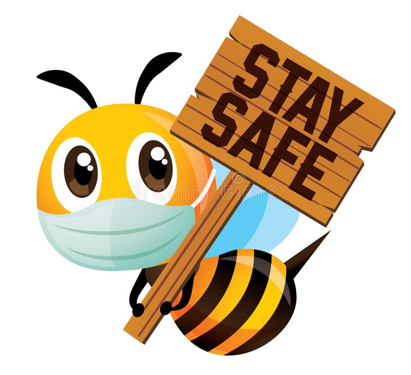 Free Cute Bee Wearing Protective Mask And Holding A Big Wooden Signboard With Stay Safe Wording Stock Photo - 176111050