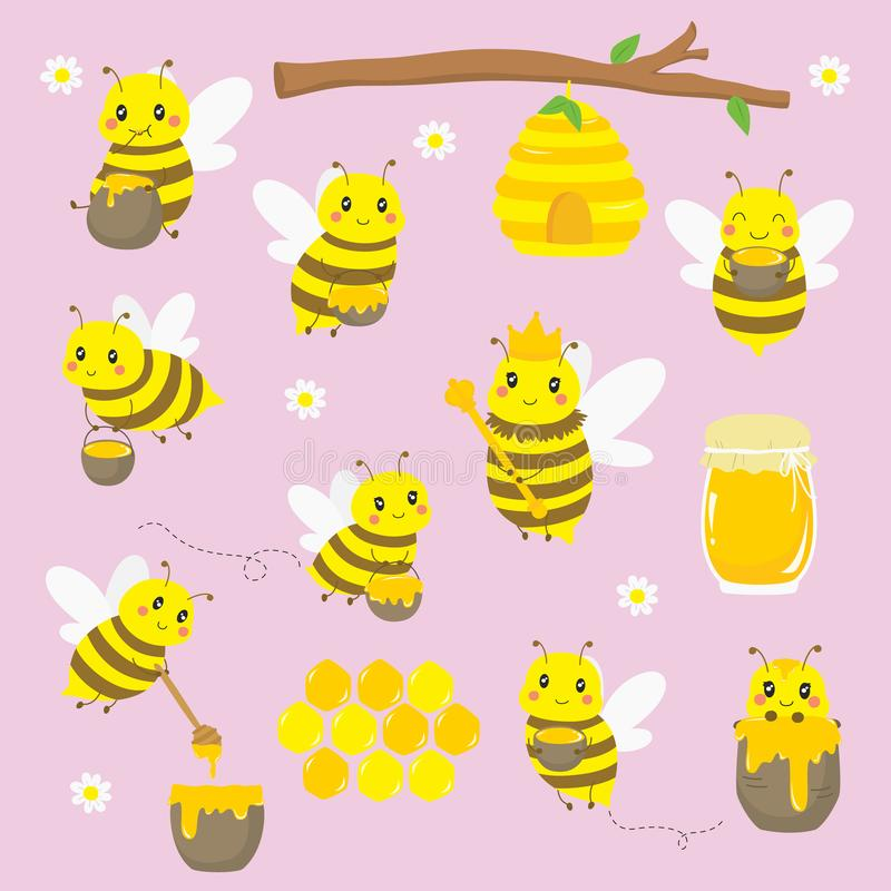 Cute Bees and Honey Vector Set stock photography