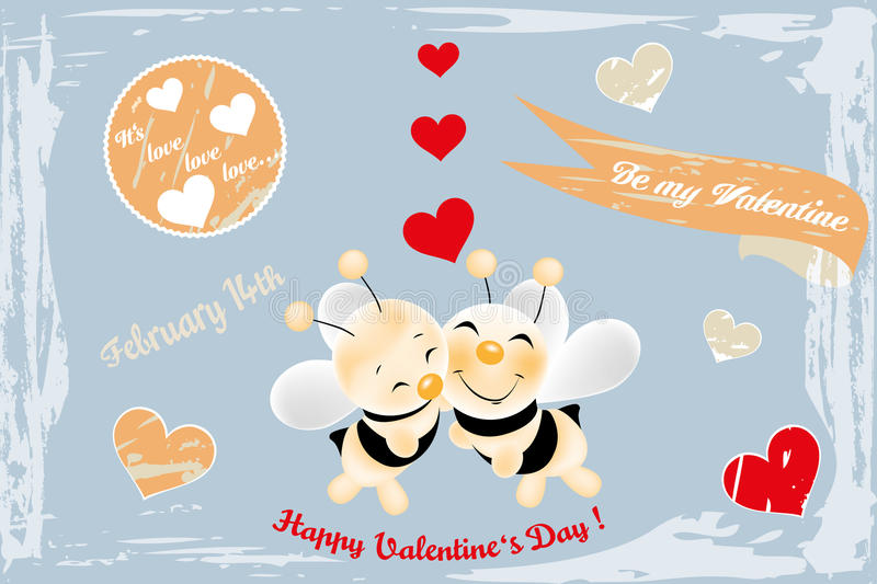 Cute bees in love - retro card. With various scrapbook design elements vector illustration