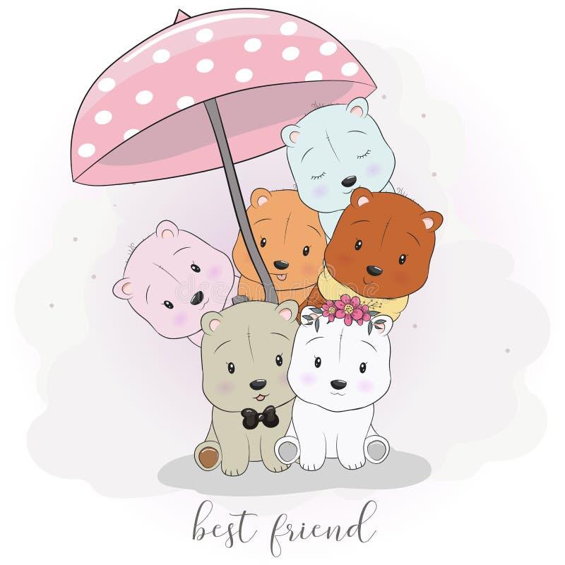 Cute best friend cartoon animals hand drawing style stock illustration
