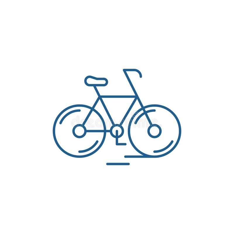 Cute bicycle line icon concept. Cute bicycle flat  vector symbol, sign, outline illustration. stock illustration