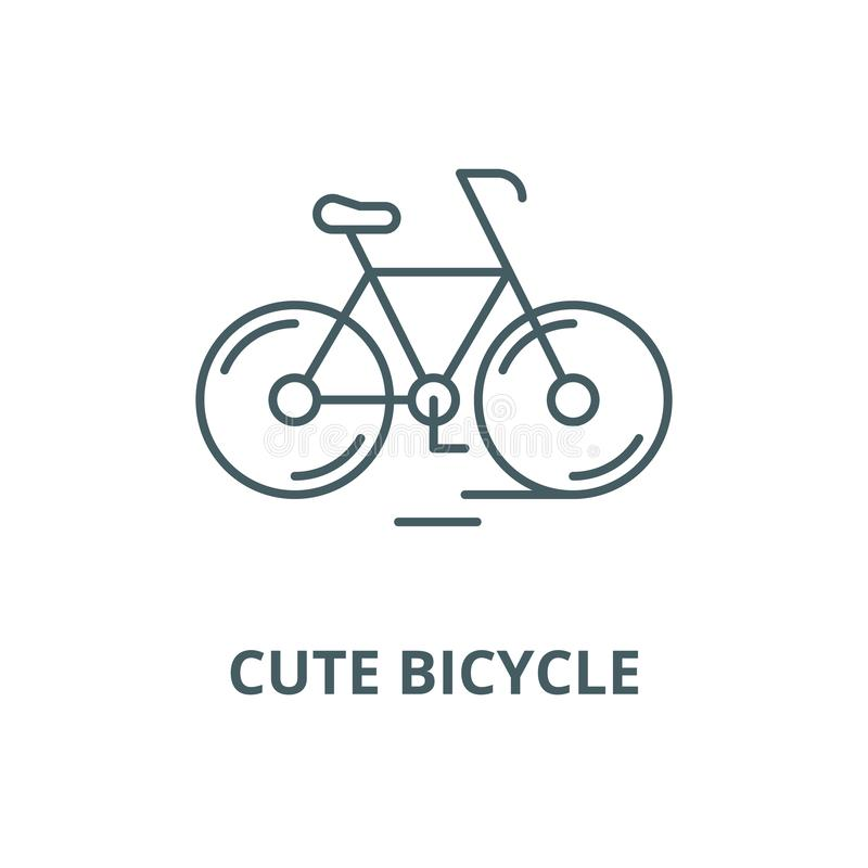 Cute bicycle line icon, vector. Cute bicycle outline sign, concept symbol, flat illustration stock illustration