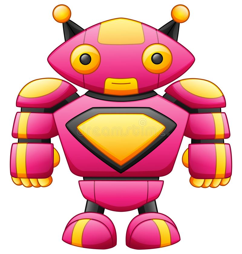 Cute big cartoon robot character isolated on white background vector illustration