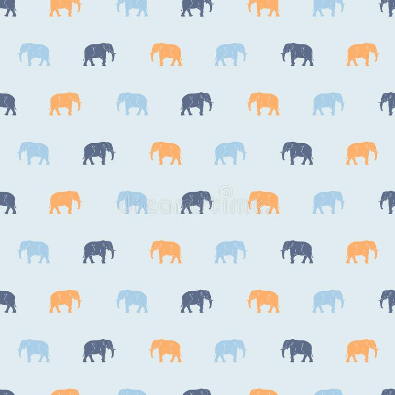 Cute big elephant seamless pattern, light blue and yellow elephants. For kids or babies textile and shirt design, wrapping and background vector illustration