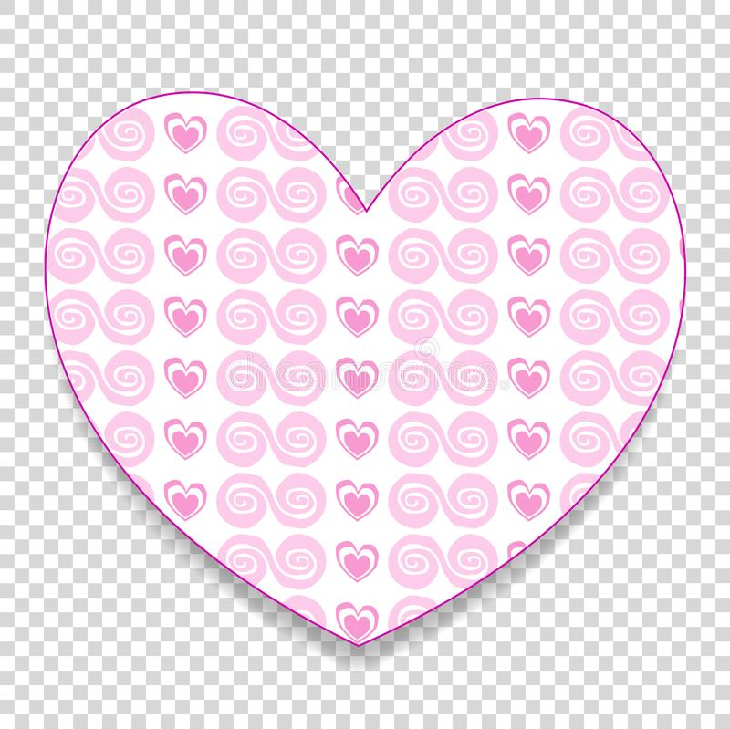 Download cute big pink paper cut heart sticker with little hearts pattern stock vector illustration