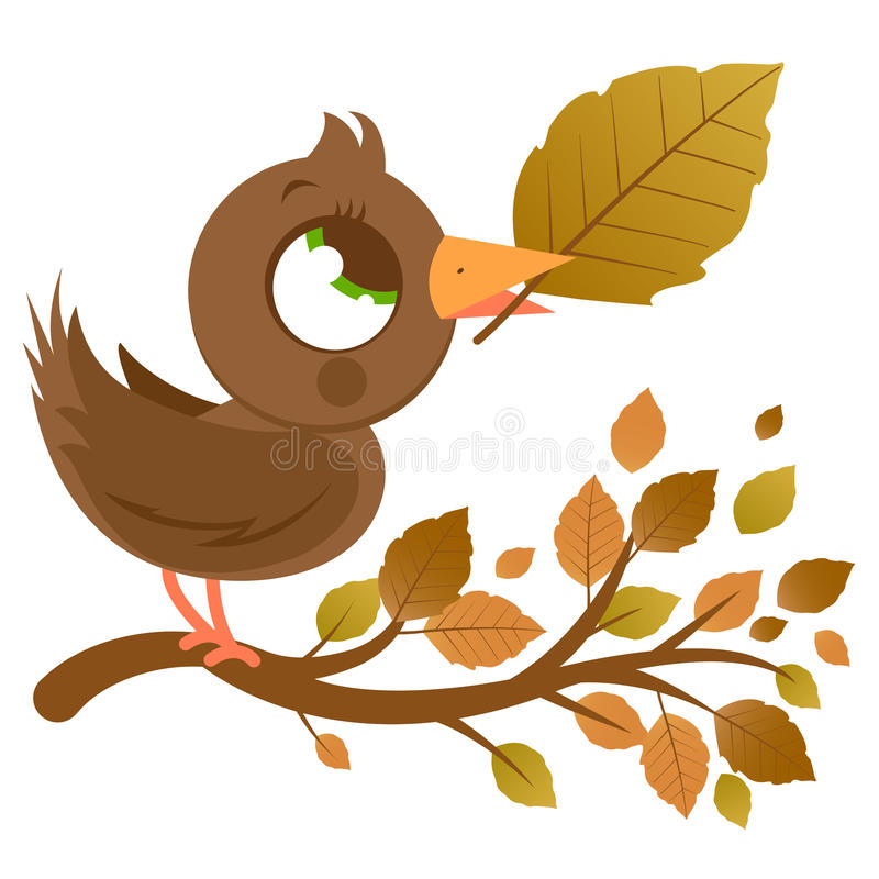 Cute bird in Autumn on a branch with dry leaves vector illustration