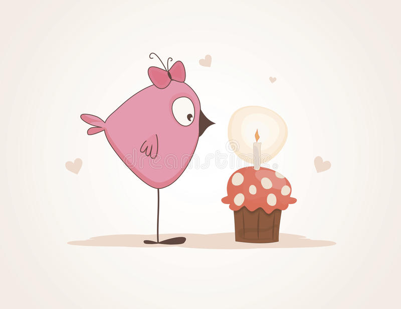 Cute bird of the cake royalty free illustration
