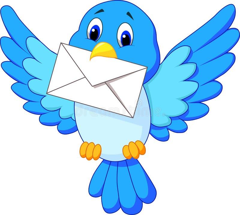 Cute bird cartoon delivering letter. Illustration of Cute bird cartoon delivering letter vector illustration