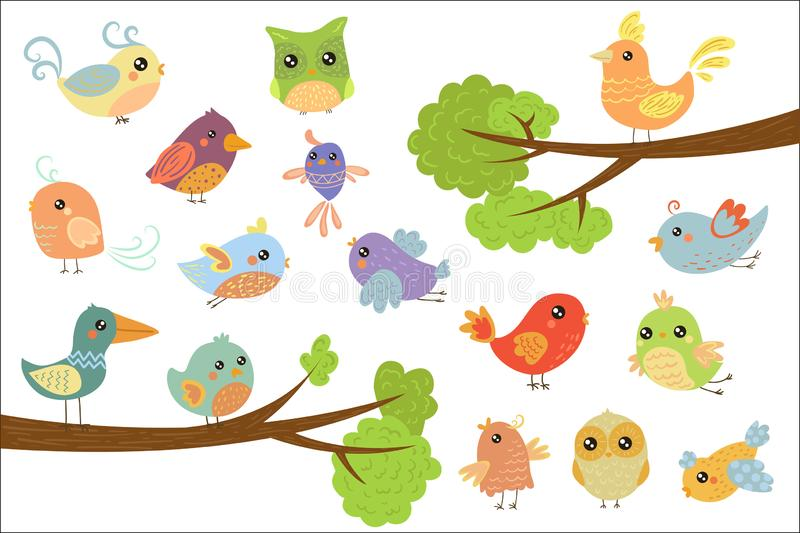 Cute bird characters set, cute colorful cartoon birds flying, singing, sitting on the branch vector Illustrations on a vector illustration