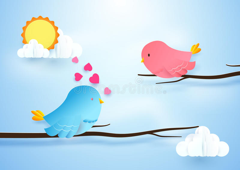 Cute bird couple on branches. Love concept. Paper art and craft vector illustration