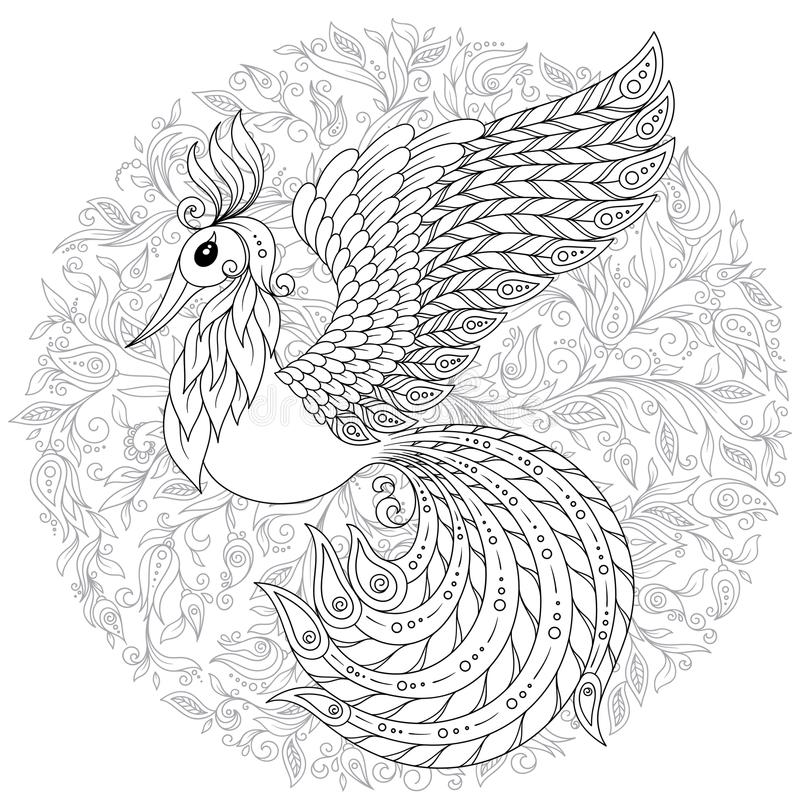 Firebird for anti stress Coloring Page with high details. royalty free illustration