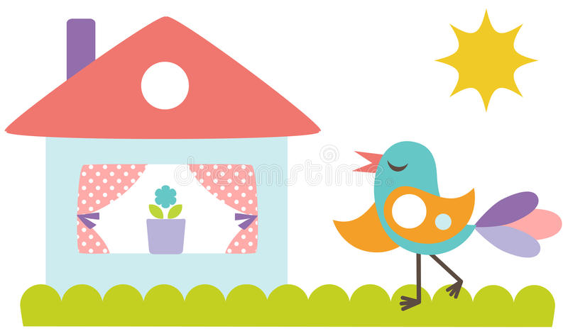 Cute bird with the house royalty free illustration