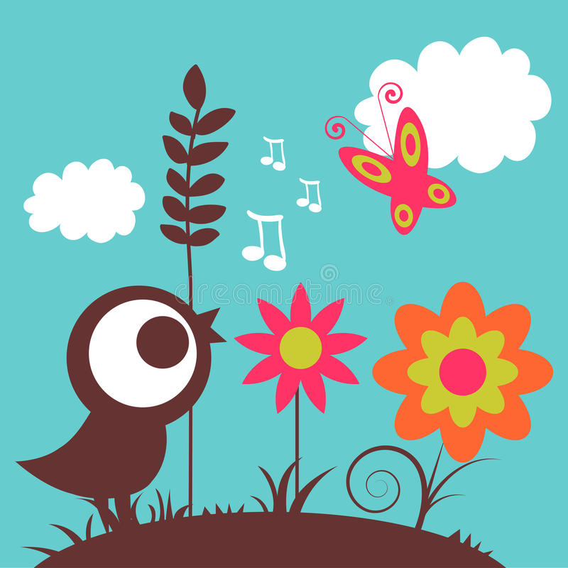 Download Cute bird in the nature stock vector. Image of pretty - 31770994