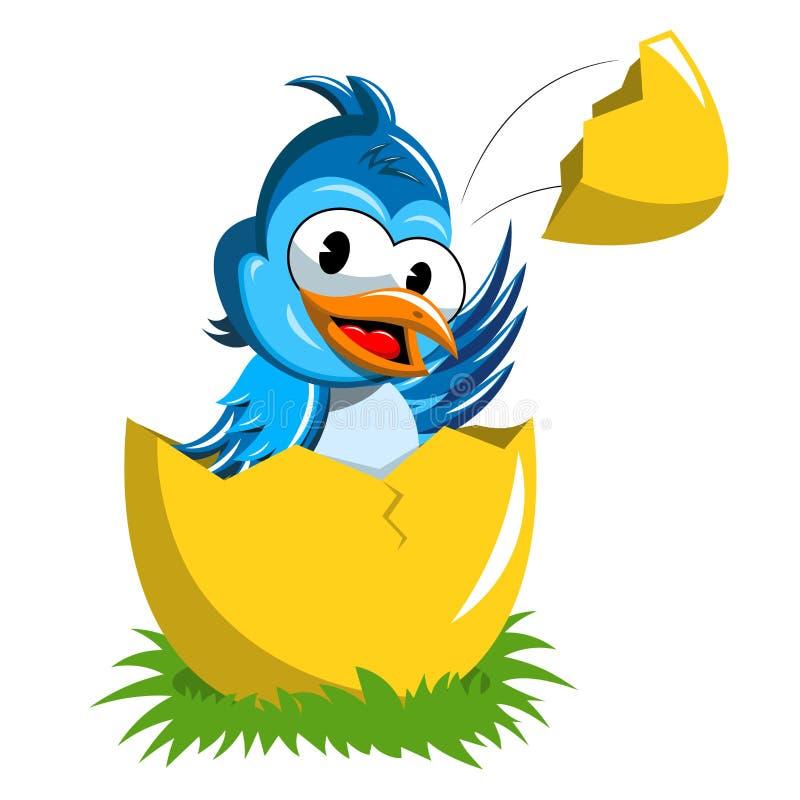Download Cute Bird Popping Up Broken Egg Isolated Stock Vector - Illustration of livestock, bird: 107946429