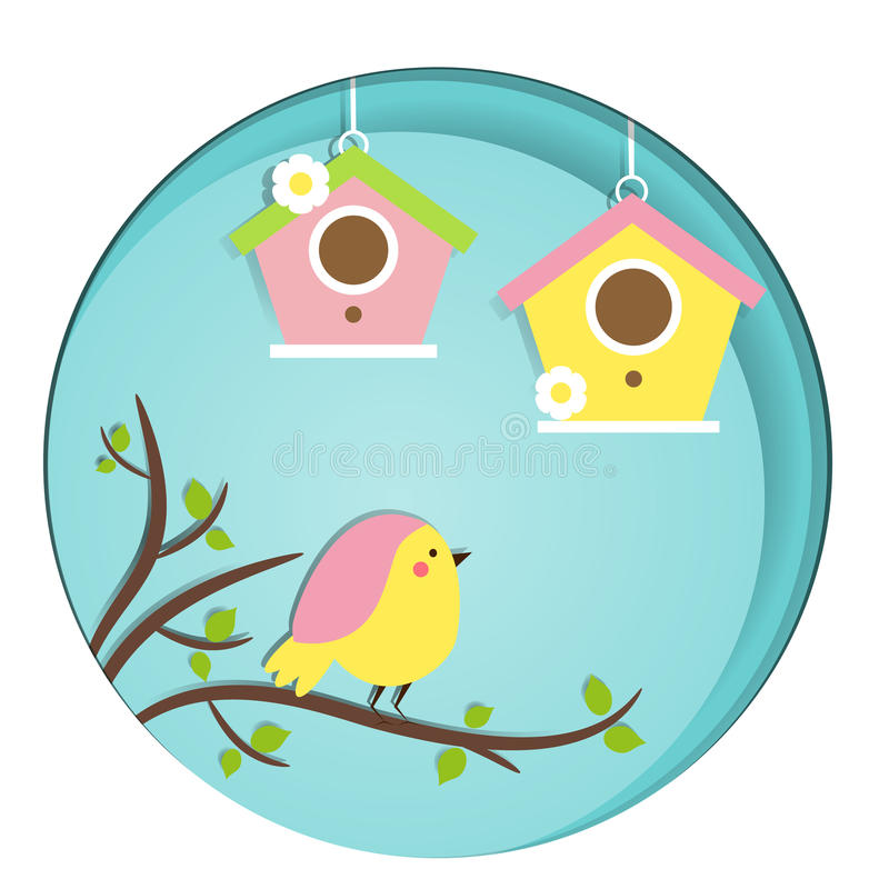 Cute Bird sitting on tree branch. Birdhouses. Vector banner in paper cut, paper carve, paper craft style royalty free illustration
