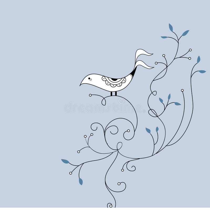 Cute bird and swirl card design vector illustration