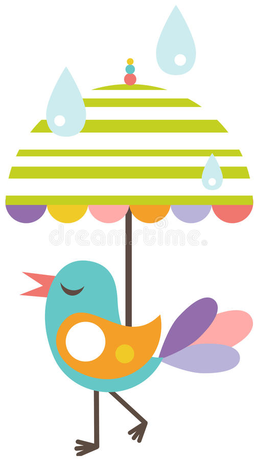 Free Cute Bird With Umbrella Royalty Free Stock Image - 20538706