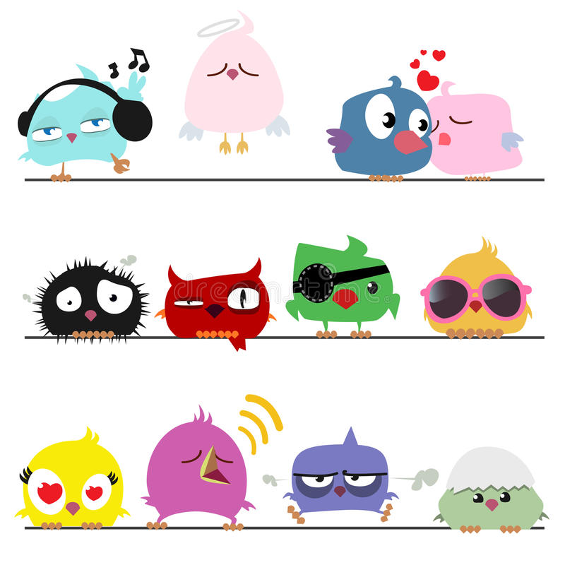 Cute birds. Different position cute cartoon birds vector