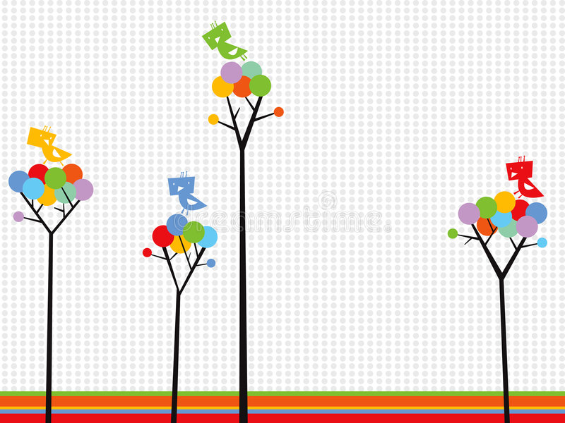 Cute birds on color dots trees stock photography
