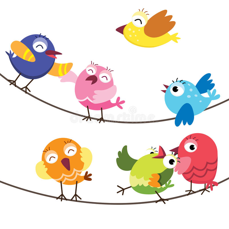 Cute Birds Family vector illustration