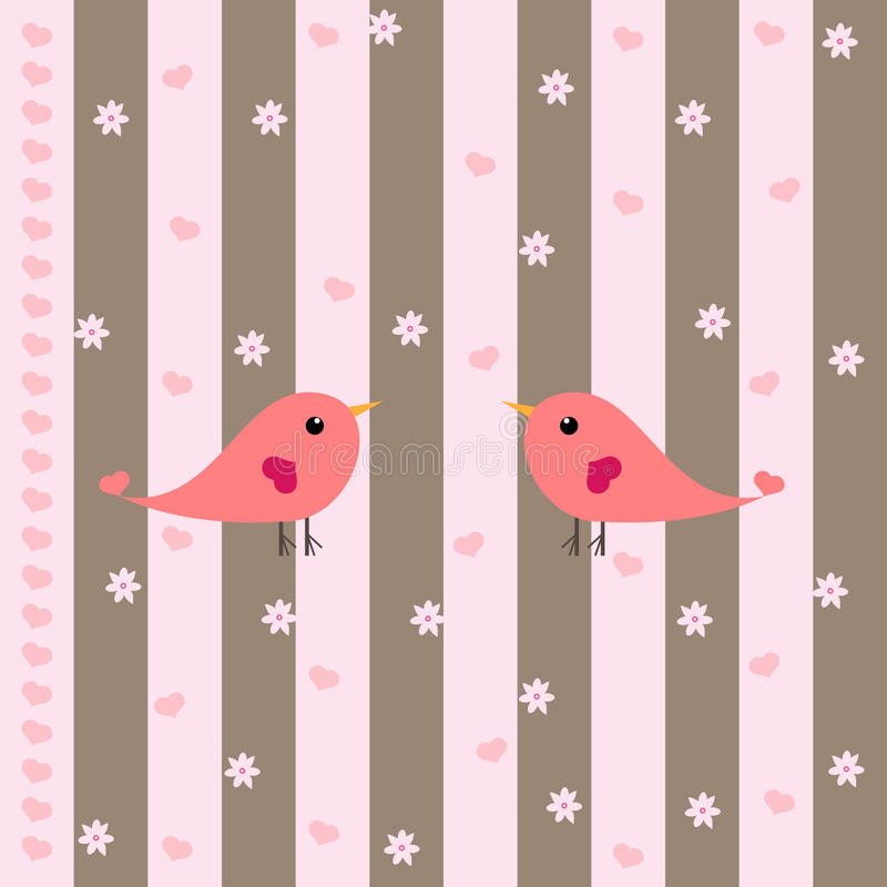Cute Birds, Hearts & Flowers royalty free illustration