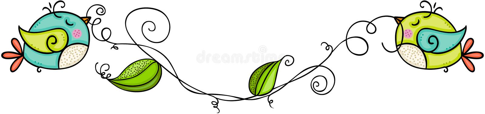 Cute birds holding branch leaves vector illustration