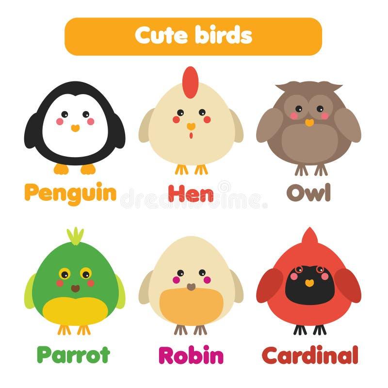 Cute birds icons set stock illustration