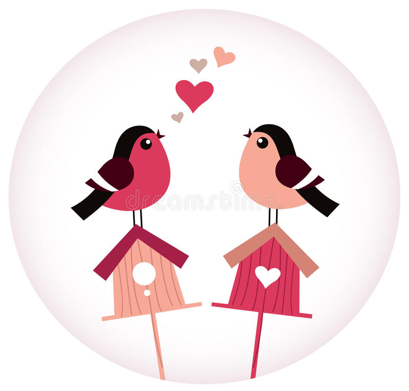 Free Cute Birds In Love Sitting On Birdhouses Stock Photos - 30214443