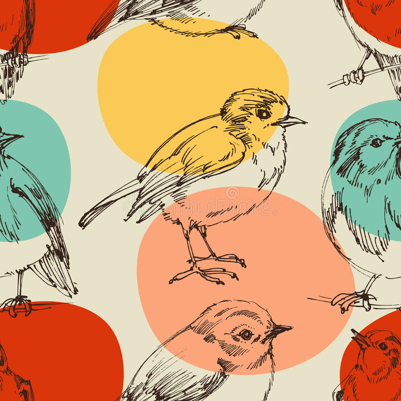 Cute birds pattern. Cute birds seamless pattern, hand drawings royalty free illustration