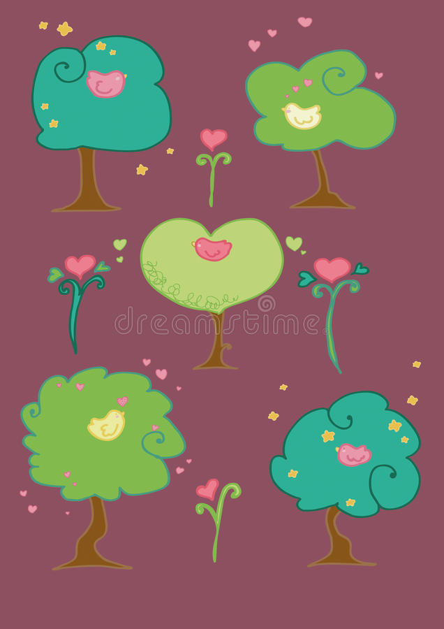 cute birds on trees composition stock images