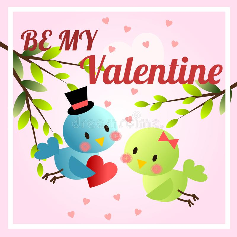 Cute birds in Valentines day theme. Be my Valentine background. Lovely animal concept vector illustration