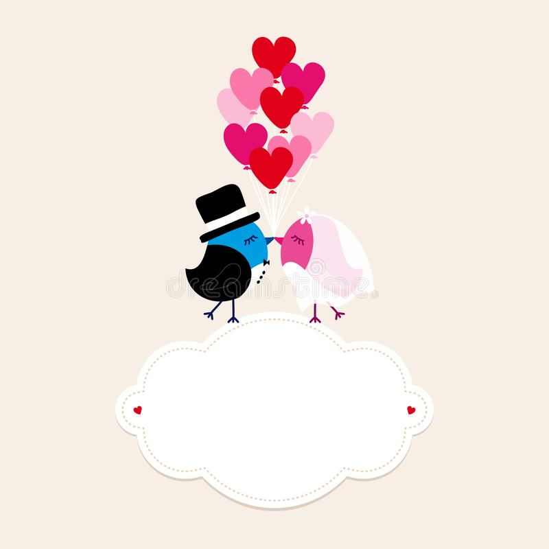 Birds Wedding On Cloud Holding Nine Heart Balloons Beige royalty free illustration
