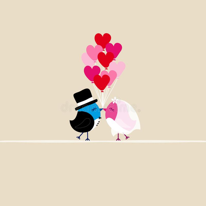Birds Wedding Kissing Holding Nine Heart Balloons Beige royalty free illustration