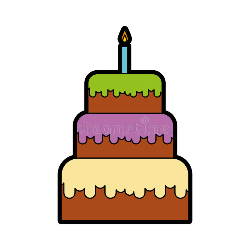 Cute birthday cake cartoon stock vector Illustration of copyspace