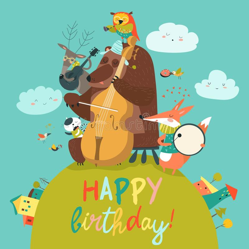 Cute Birthday Card With Animals And Music Stock Vector