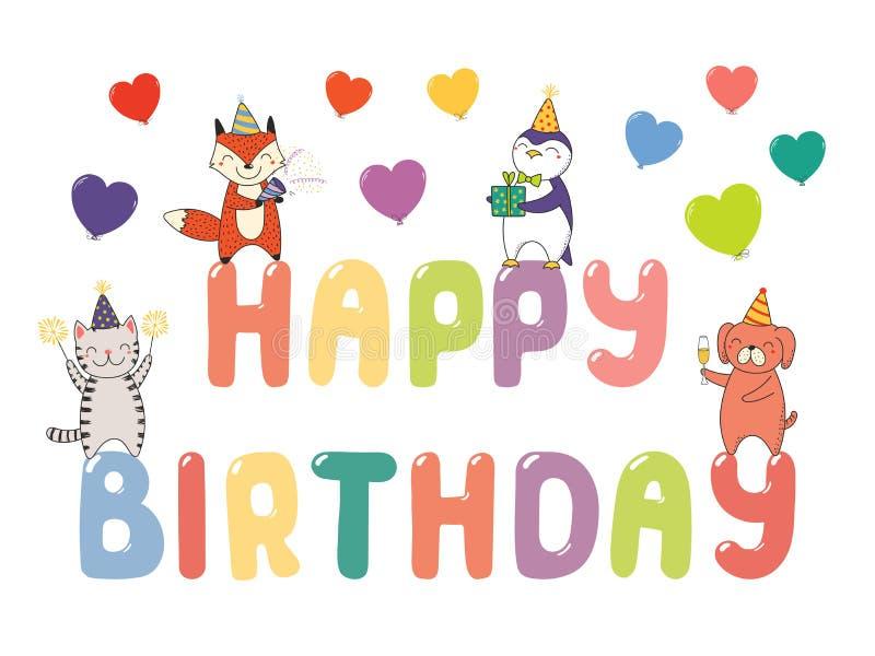 Cute Birthday Card Banner Stock Vector Illustration Of Drawn