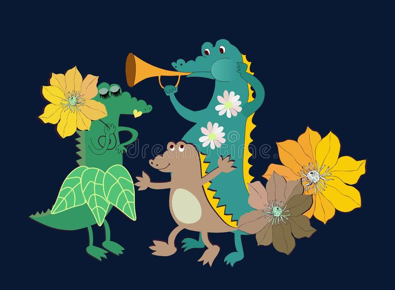 Cute birthday card with crocodiles family and flowers on black background.  royalty free illustration