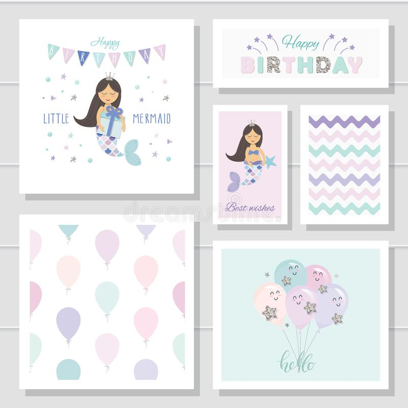 Cute birthday cards set for girls. Little Mermaid cartoon characters. With glitter elements. stock illustration