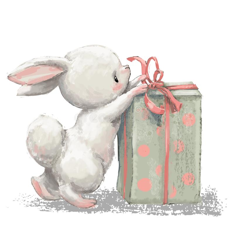 Cute birthday cartoon hare with present box royalty free illustration