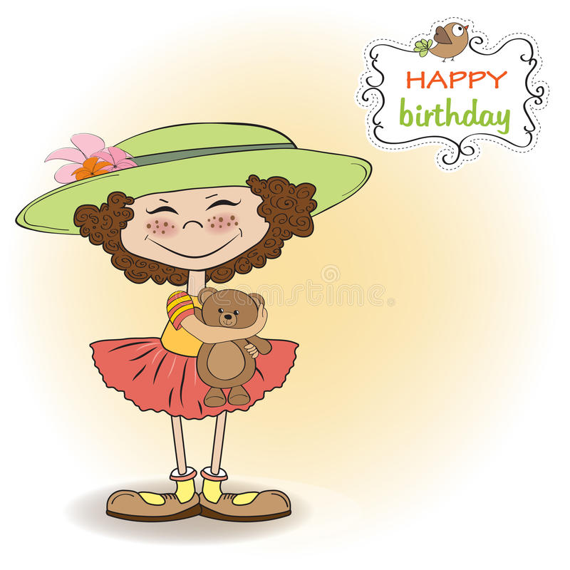 Download Cute Birthday Greeting Card With Girl Stock Vector - Image: 24035047